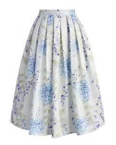 Tranquil Watercolor Floral Midi Skirt