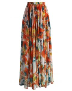 Orange Blossom Watercolor Maxi Skirt