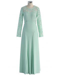 Mint Splendor Lace Panel Maxi Dress