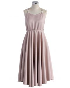 Luxurious Cross-strap Open Back Dress in Pink