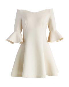 Simple Elegance Off-shoulder Dress in Nude