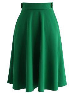 Basic Full A-line Skirt in Emerald Green