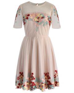 Festive Garden Embroidered Mesh Dress