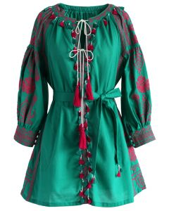 Fascinating Stitch Tunic in Emerald Green