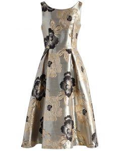 Magnificent Peony Jacquard Prom Dress