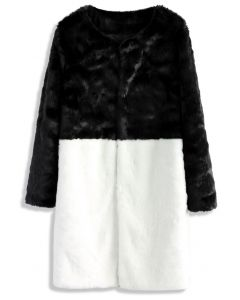 Contrast Allure Faux Fur Coat in Black