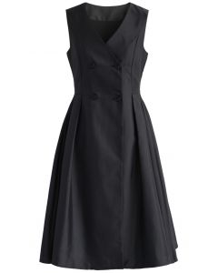 Concise Yet Charming Coat Dress in Black