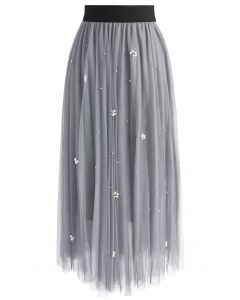 Falling Sparkle Tulle Skirt in Grey