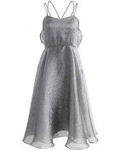 Luxurious Sheen Cross-strap Open Back Dress in Grey