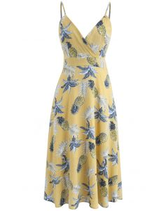 Tropical Pineapple Cami Dress in Yellow