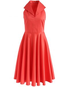 Date with Glamour Sleeveless Dress in Coral