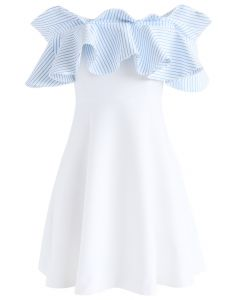Nifty Breeze Off-shoulder Dress in Blue Stripe