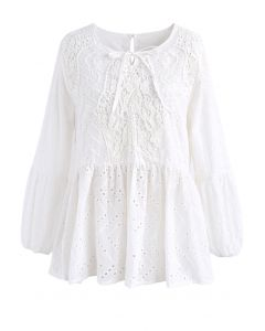A Delicate Beginning Eyelet Dolly Top in White