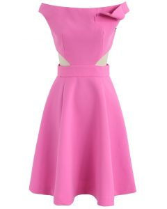 Keep on Dancing Off-Shoulder Dress in Rouge Pink