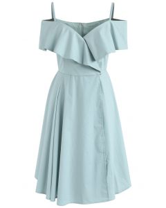 Appealing Sweet Frilling Cold-Shoulder Flap Dress in Mint