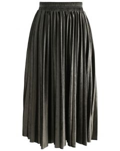 Inviting Sheen Velvet Pleated Skirt in Olive