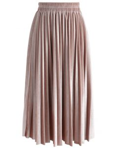 Inviting Sheen Velvet Pleated Skirt in Pink