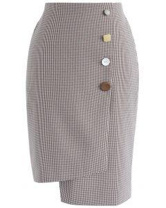 Asymmetric Refinement Flap Pencil Skirt in Wine Gingham