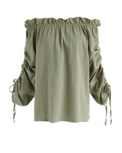Appealing Form Ruffle Off-Shoulder Top in Khaki