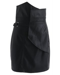 Wild Charm Flap Faux Leather Skirt in Black