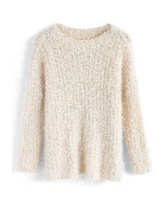 Joyous Daybreak Fluffy Sweater in Cream