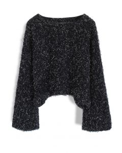 Twinkling Fluffy Cropped Sweater in Black