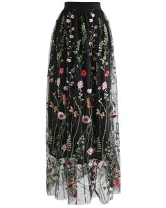 Lost in Flowering Fields Mesh Maxi Skirt in Black