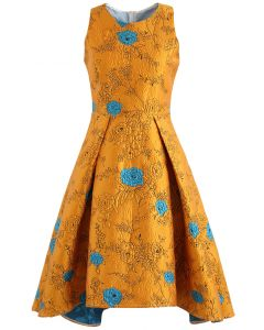 Golden Roses Jacquard Embossed Waterfall Dress
