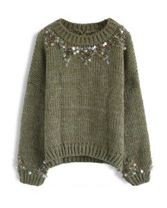 Focus on Sparkle Sequin Knit Sweater in Dark Green