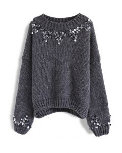 Focus on Sparkle Sequin Knit Sweater in Smoke