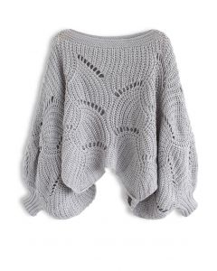 Charming Pace Open Knit Sweater in Grey