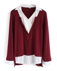 Energetic Fake Two-piece Smock Top in Wine