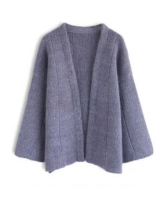 Comfortable Free Time Knit Cardigan in Lavender