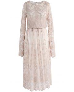 The Joy of Embroidery Mesh Midi Dress in Light Tan