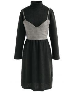 Houndstooth Fake Two-Piece Knit Dress in Dark Green