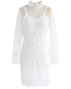 Fanciful Bloom Crochet Dress in White