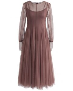 Lightsome Steps Layered Mesh Tulle Dress in Mauve