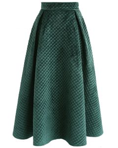 Fancy Sheen Quilted Velvet Skirt in Dark Green