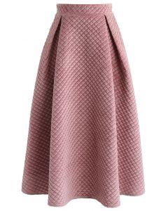 Fancy Sheen Quilted Velvet Skirt in Pink
