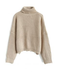 Warm Me Up Chunky Knit Turtleneck Sweater in Sand