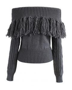 Joyful Tassels Off-Shoulder Knit Sweater in Grey