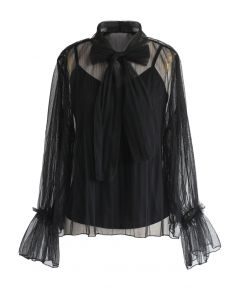 Your Sweet Gift Pussy-Bow Mesh Top in Black
