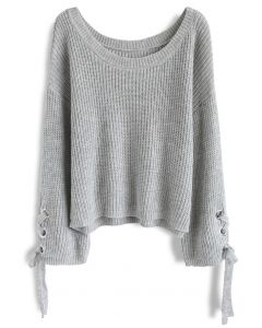 Leisure Moment Lace-Up Sleeves Ribbed Knit Sweater in Grey