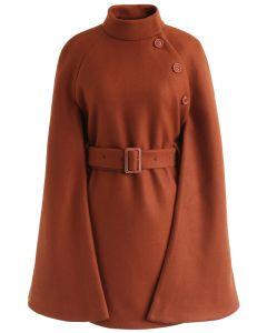 Talkin' About Stylishness Wool-Blend Cape Coat in Caramel