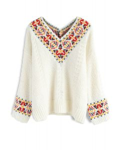 Please Yourself V-Neck Knit Sweater in Ivory