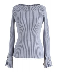 Oh My Pearls Ribbed Bell Sleeves Sweater in Lavender