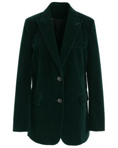 Noble Chic Velvet Blazer in Dark Green