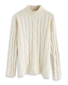 Snugly Warm Cable Knit Sweater in Ivory