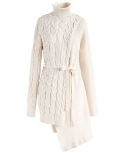 Asymmetric Rhythm Flap Cable Knit Turtleneck Sweater in Ivory