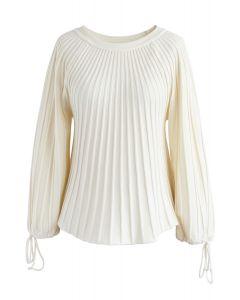 Sugary Puff Radiating Stripe Sweater in Ivory